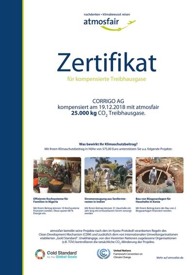 Bild Zertifikat kompensation Treibhausgase
